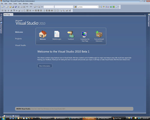 Visual Studio 2010 Home page